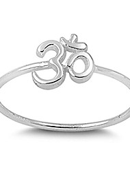 cheap -thin simple om sign fashion ring new .925 sterling silver band size 7