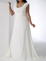 cheap -A-Line Wedding Dresses Scoop Neck Floor Length Chiffon Sleeveless Simple Plus Size with 2021