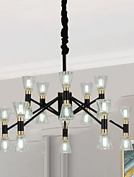 cheap -12/16 Heads LED Chandelier Modern Black Pendant Light Living Room Metal Electroplated Painted Finishes LED Nordic Style 220-240V