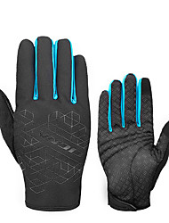 cheap -Winter Touch Gloves Anti-Slip Warm Anti-Shake / Damping Wearable Full Finger Gloves Sports Gloves Lycra Black Black / Blue for Road Cycling Leisure Sports Cycling / Bike