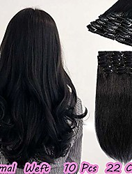 """cheap -clip in human hair extensions 100% remy hair extension set 8pcs straight hair for full head (90g-14""""+16""""+18"""", 01 jet black)"""