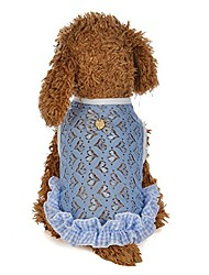 cheap -wakeu pet shirt, summer clothes for small dog girl puppy cat lace love shape mesh vest costumes tank top pet apparel (l, blue)