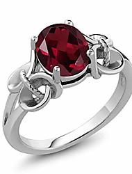 cheap -2.00 ct oval red rhodolite garnet 925 sterling silver ring (size 6)