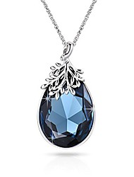 cheap -austrian crystal teardrop necklace with lucky olive leaf navy blue birthstone pendant 14k white gold plated chain necklace for women girls silver jewelry gift 18''