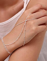 cheap -boho finger bracelets ring hand chain wedding and beach slave bracelet jewelry for women and girls (silver)