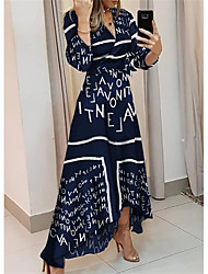 cheap -Women's Swing Dress Maxi long Dress Blue 3/4 Length Sleeve Floral Print Patchwork Print Summer V Neck Elegant vacation dresses 2021 S M L XL XXL 3XL