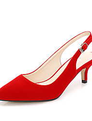 cheap -Women's Heels Stiletto Heel Pointed Toe Daily Walking Shoes Nubuck Buckle Solid Colored Black Red