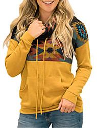 cheap -Women's Front Pocket Geometric Women's Hoodies Long Sleeve Sweater Cardigans Turtleneck Fall Winter Black Blue Red