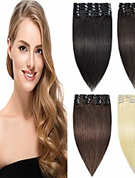 cheap -remy clip in hair extensions real human hair straight full head for women 8pcs 18 clips 65g/set 16 inch