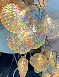 cheap -1.5M 10Leds Fairy Garland LED Romantic Shell String Lights Holiday Lamp For Christmas Party Wedding Home Indoor Decoration Warm White Lighting Battery AA Battery Power