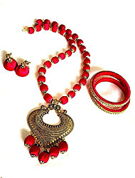 cheap -antique pendant graceful elegant necklace red with jhumki earrings set & bangles with free storage pouch