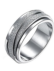 cheap -8mm unisex stainless steel finger spinner gear silver brushed matte rings,wedding rings
