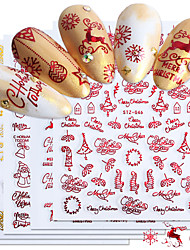 cheap -9pcs/set Nail Stickers Ins Classic Red Gold Santa Claus Multi-Purpose Nail Stickers Snowflake Tree Bell