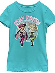 cheap -girl's nintendo splatoon inklings stay fresh t-shirt - tahiti blue - large