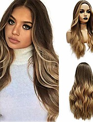 cheap -long wavy brown ombre blonde wigs cosplay party wig for black women afro high temperature fiber synthetic hair wigs