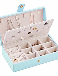cheap -travel jewelry box for women pu leather jewelry organizer storage jewelry case for necklace earrings bracelets rings -light blue