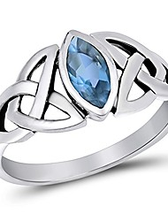 cheap -sterling silver simulated aquamarine ring irish celtic knot design band 925 size 7