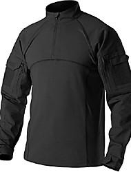 cheap -men's combat shirt tactical 1/4 zip assault military top camo edc, combat shirts(tos201) - black, l