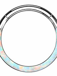 cheap -synthetic white/blue opal daith septum piercing hoop 316l stainless steel cartilage helix lobe earrings tragus conch piercing jewelry
