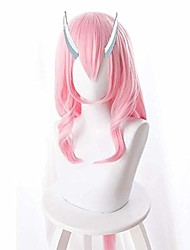 cheap -short curly orange synthetic wigs time i got reincarnated as a slime anime shuna cosplay wig novelty pink low pony tail long wig high temperature wire teenage girl wig anime fans gift (color : pink)