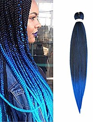 cheap -26 inch easy braids professional pre-stretched synthetic hair for braiding hot water setting ombre crochet braids hair extensions - natural black & blue