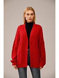 cheap -Women's Cardigan Knitted Solid Color Acrylic Fibers Long Sleeve Sweater Cardigans V Neck Fall Winter Red