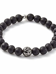 cheap -mens asteroid bracelet, matte black onyx bead, sterling silver clasp - medium 17.5cm