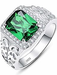 cheap -mens emerald ring anillos de matrimonio may birthstone created green emerald april birthstone white cubic zirconia 925 silver bands size 11