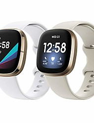 cheap -(2 pack) Watch Band compatible with fitbit sense/versa 3 strap for women men,  soft tpu sports band silicone strap compatible with fitbit sense/versa 3, white+apricot,