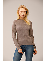 cheap -Women's Knitted Solid Color Pullover Long Sleeve Sweater Cardigans Turtleneck Fall Winter Camel