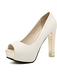 cheap -Women's Heels Stiletto Heel Peep Toe Casual Daily Walking Shoes PU Solid Colored White Black