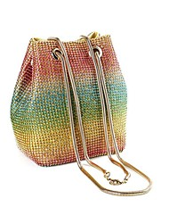 cheap -Women's Girls' Bags Alloy Evening Bag Glitter Crystals Solid Color Party Going out Evening Bag Handbags Rainbow