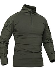 cheap -men's tactical military shirt 1/4 zip cotton assault top long sleeve hiking shirt black grey, m