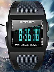 cheap -SANDA Men's Digital Watch Digital Sporty Tonneau Outdoor Water Resistant / Waterproof Digital White Black Blue / One Year / Silicone