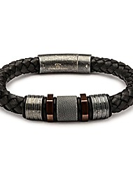 cheap -men's black braided leather bracelet with stainless steel rose gold ip and steel beads