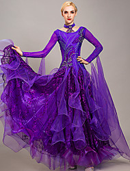 cheap -Ballroom Dance Dress Embroidery Appliques Crystals / Rhinestones Women's Training Performance Long Sleeve Organza Ice Silk