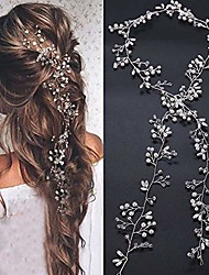 cheap -bridal rose gold and gold silver extra long pearl and crystal beads bridal hair vine wedding head piece bridal hair accessories headband hair jewelry hair accessories (silver)