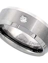 cheap -8mm tungsten 900 diamond wedding ring 0.072 cttw beveled edges comfort fit, size 9.5