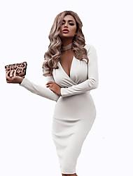 cheap -Women's Shift Dress Knee Length Dress White Black Red Wine Green Beige Long Sleeve Solid Color Fall Spring V Neck Elegant Vintage 2021 S M L XL XXL