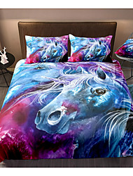 cheap -Horse Print 3-Piece Duvet Cover Set Hotel Bedding Sets Comforter Cover with Soft Lightweight Microfiber, Include 1 Duvet Cover, 2 Pillowcases for Double/Queen/King(1 Pillowcase for Twin/Single)