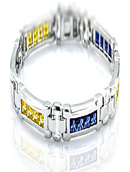 "cheap -men's sterling silver .925 original design bracelet with 24 fancy color canary yellow and azure blue,cubic zirconia (cz) stones and box lock, platinum plated. sizes available 8""9"""