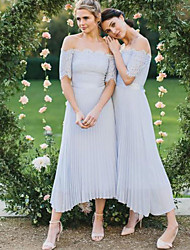 cheap -A-Line Off Shoulder Tea Length Chiffon Bridesmaid Dress with Lace
