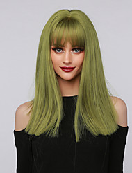 cheap -Cosplay Costume Wig Synthetic Wig Cosplay Wig Straight kinky Straight Side Part Neat Bang With Bangs Wig Medium Length Green Synthetic Hair 16 inch Women's Cosplay Party African American Wig Green
