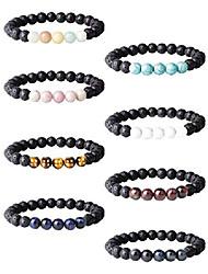 cheap -8-12pcs lava rock stone bracelet for women men oil diffuser bracelet gemstone bead natural stone stretch yoga bracelets