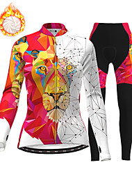 cheap -21Grams Women's Long Sleeve Cycling Jersey with Tights Winter Fleece Polyester White Animal Bike Clothing Suit Thermal Warm Fleece Lining Breathable 3D Pad Warm Sports Printed Mountain Bike MTB Road