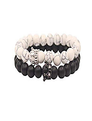 cheap -distance couple friendship, stretch adjustable, natural black matte agate onyx, lava stone and white howlite bracelets with jewelry bag, meaning card, elastic crown