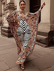 cheap -Women's Kaftan Dress Maxi long Dress Long Sleeve Print Leopard Print Fall Spring Elegant Vintage 2021 Brown One-Size
