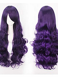 """cheap -32"""" long curly purple full hair wig with fringe bangs anime cosplay halloween costume party synthetic wigs for women girls"""