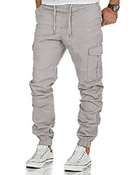 cheap -men's stretch jogger cargo chino jeans pants 7006 light gray w32