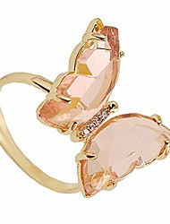 cheap -dainty colorful crystal butterfly open cuff ring for women adjustable size gold plated circle gift for lovely her or teen girls pale pink